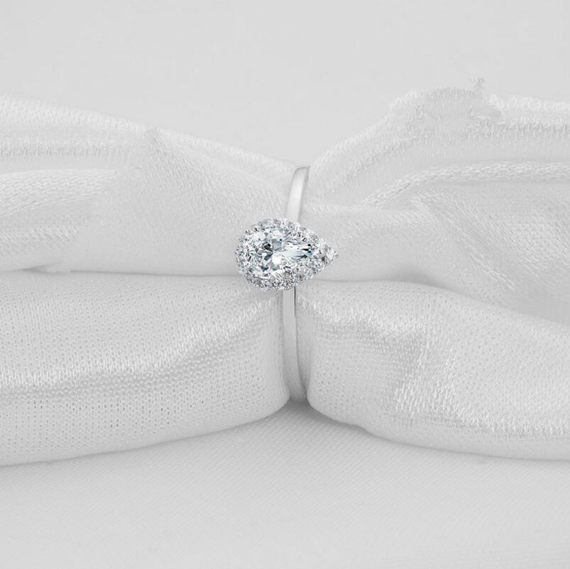 0.5 carat Simple female ring 925 silver tear drop customized diamond ring (XJ)