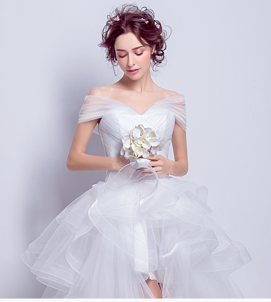 Angel Wedding Dress Marriage Evening Bride Party Prom Bridal Gown Vestido De Noiva 2017 Boat Neck asymmetrical7207 1