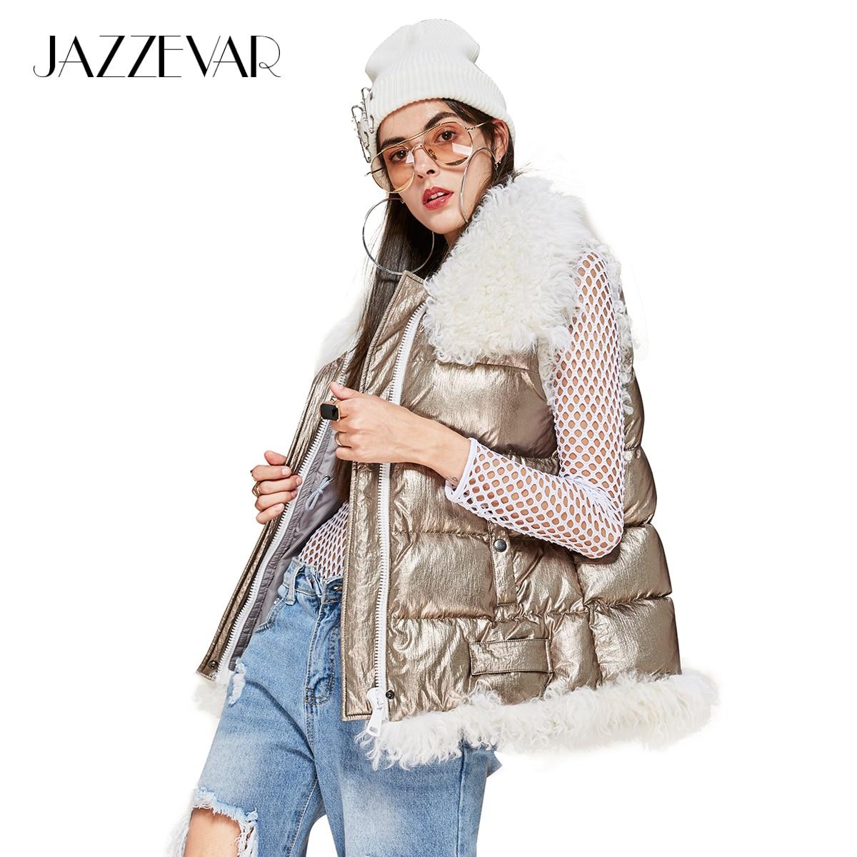 JAZZEVAR 2019 nouveau hiver haute couture femme de rue conceptions futuristes Edgy argent doudoune fille gilet avec fourrure d'agneau