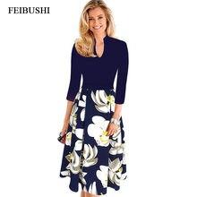 3d3a3c8c9 FEIBUSHI mujeres elegante Oficina señora otoño vestido Vintage cuello V  trabajo Oficina Casual fiesta una línea