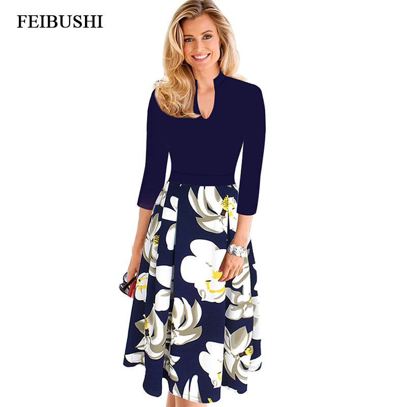 FEIBUSHI Elegant Office Lady Dress Womens Vintage Autumn V Neck Work Office Casual Party A Line Skater Dress Big size 4XL