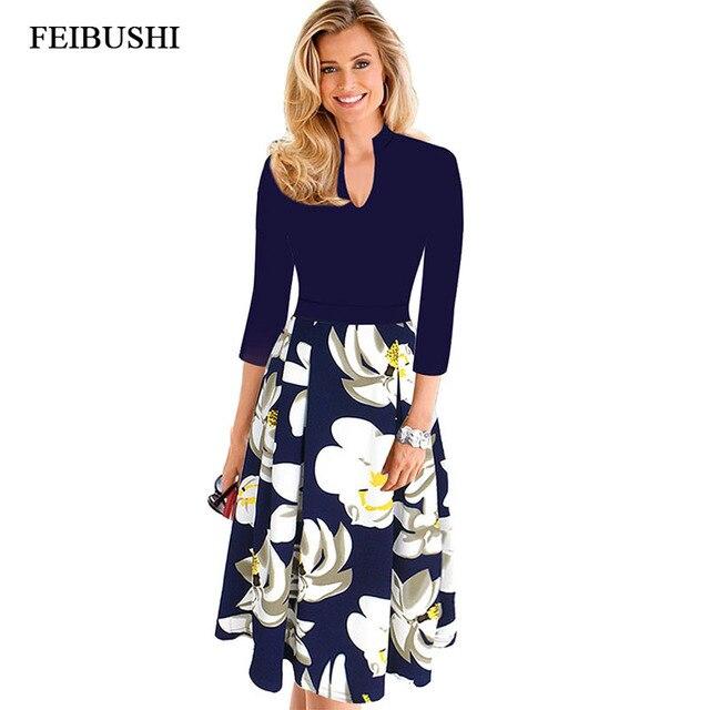 FEIBUSHI Womens Elegant Office Lady Autumn Dress Vintage V Neck Work Office  Casual Party A Line Skater Dress Big size 4XL 385e29097a64