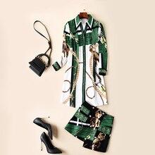 최고 품질 디자이너 활주로 2pcs 세트 여성 2019 봄 여름 패션 동물 인쇄 긴 셔츠 + 미니 스커트 정장 세트