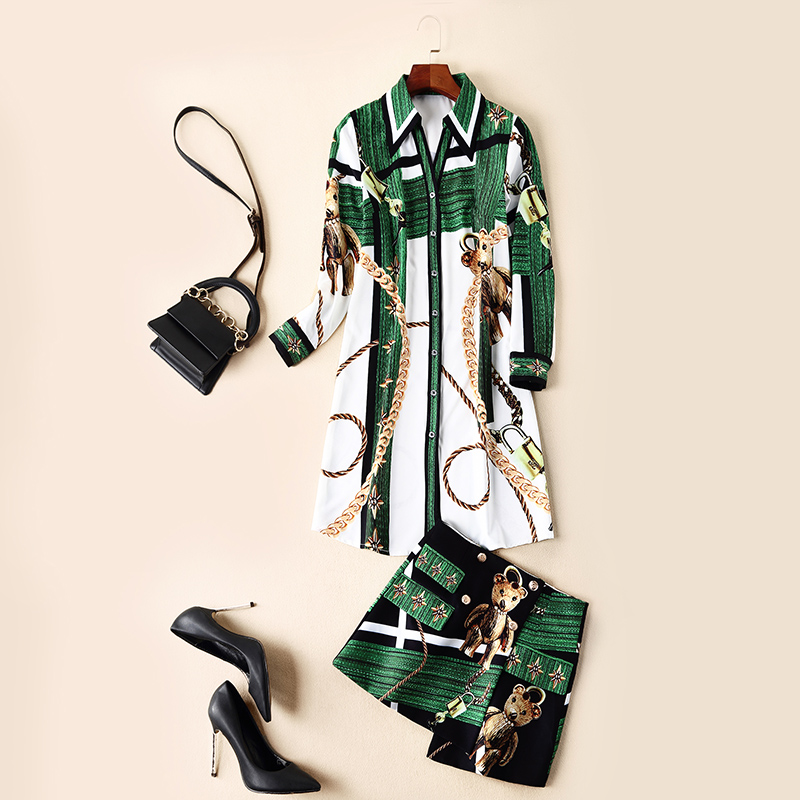 Top Quality Designer Runway 2pcs Sets Women 2019 Spring Summer Fashion Animal Print Long Shirt+Mini Skirt Suit Sets