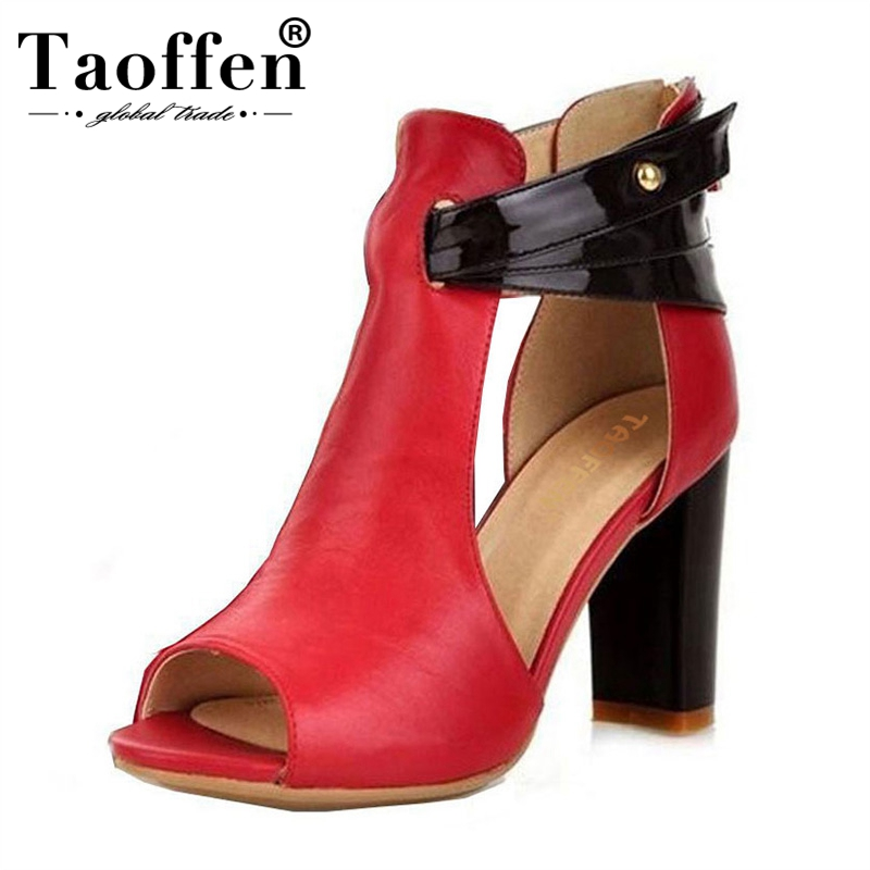 TAOFFEN size 32 43 women high heel sandals peep toe real leather square heels sandal brand