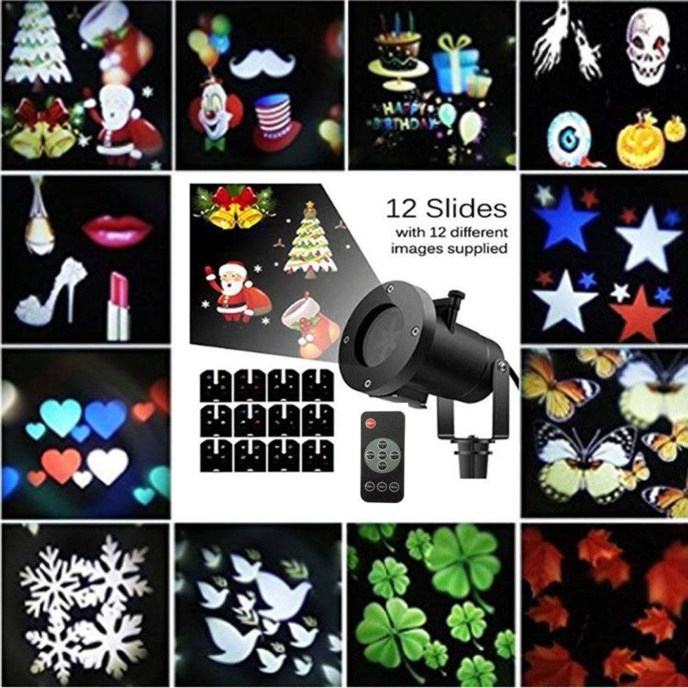 цена на Waterproof Moving Laser Projector Lamps 12 Patterns Snowflake LED Stage Light Party Christmas Outdoor Garden Landscape Spotlight