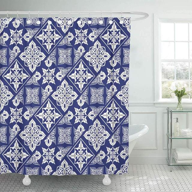 Fabric Shower Curtain With Hooks Gorgeous Patchwork Pattern From Dark Blue And White Moroccan Tiles Ornaments Fills