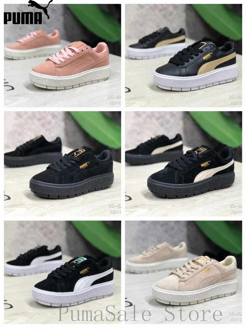 8ce072fd0cb0 Puma Basket Platform Core Wins Badminton Shoes Thick Bottom Rihanna Retro  Sneaker Low Top Sports Shoes