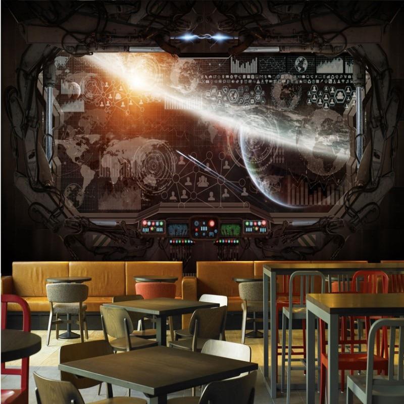 . US  11 46 30  OFF Custom mural custom 3D Stereo restaurant mural Wallpaper  gaming room mural Cosmic Space Cabin Spacecraft moon Mural in Wallpapers