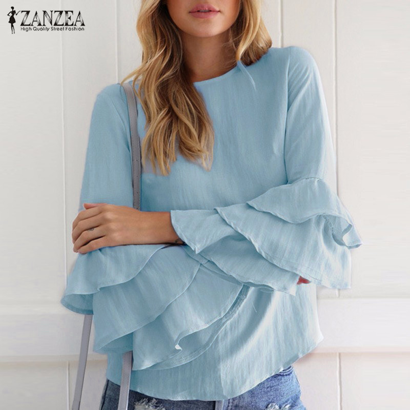 Oversized 2018 ZANZEA Women Elegant   Blouses     Shirts   Ladies O Neck Flounce Long Sleeve Solid Blusas Tops Casual Loose Pullovers