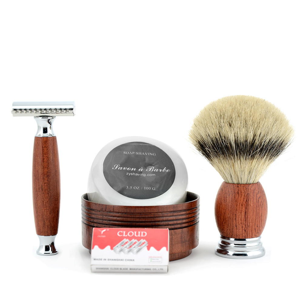 ZY Double Edge Safety Razor Shaving Adjustable Set Men Badger Hair Beard Brush + Wood Bowl Cup + Face Cleaning Soap 10 Blades  verawood wood pure badger shaving brush and de safety razor set