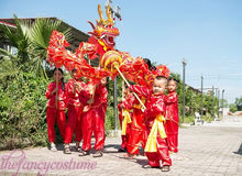 3.1M children size CHINESE DRAGON DANCE silk Folk Festival Celebration Costume 4 kids play party costume stage props
