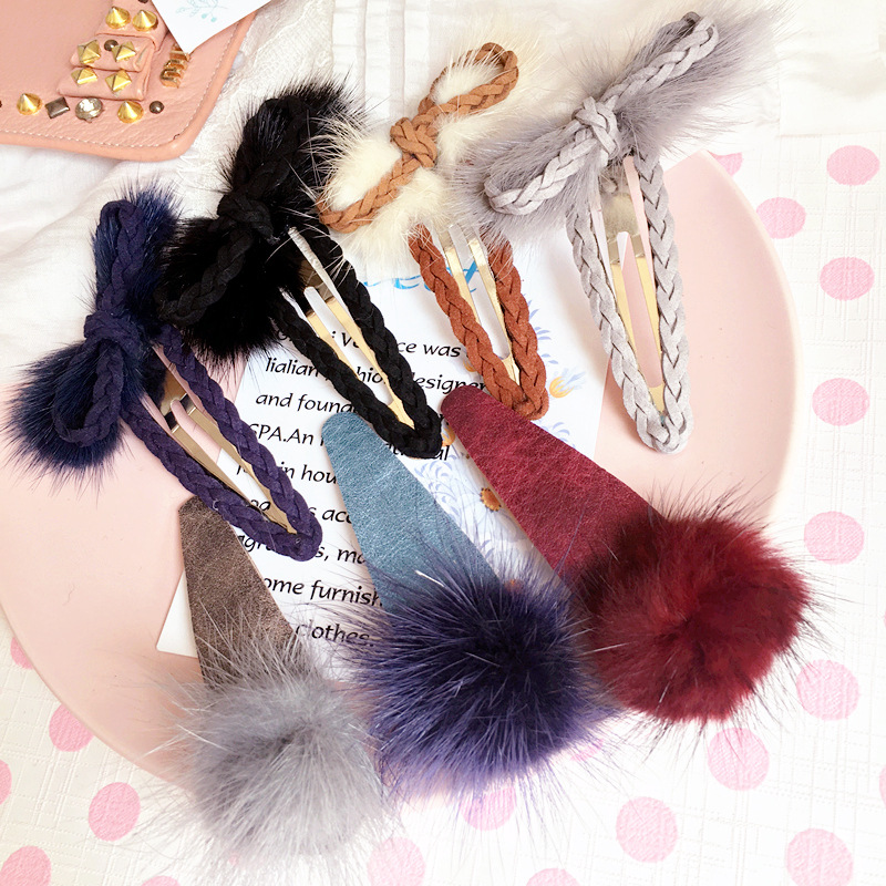 Korea Hair Bows Sable Ball Hair Accessories Weave Rim Hairpin Hair Clips For Women Headb ...