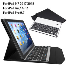 Case For iPad 9.7 2017 2018 Ultra thin Wireless Bluetooth Aluminum Keyboard cover For iPad 5 / 6 / Air / Air 2 / Pro 9.7+ Gift(China)