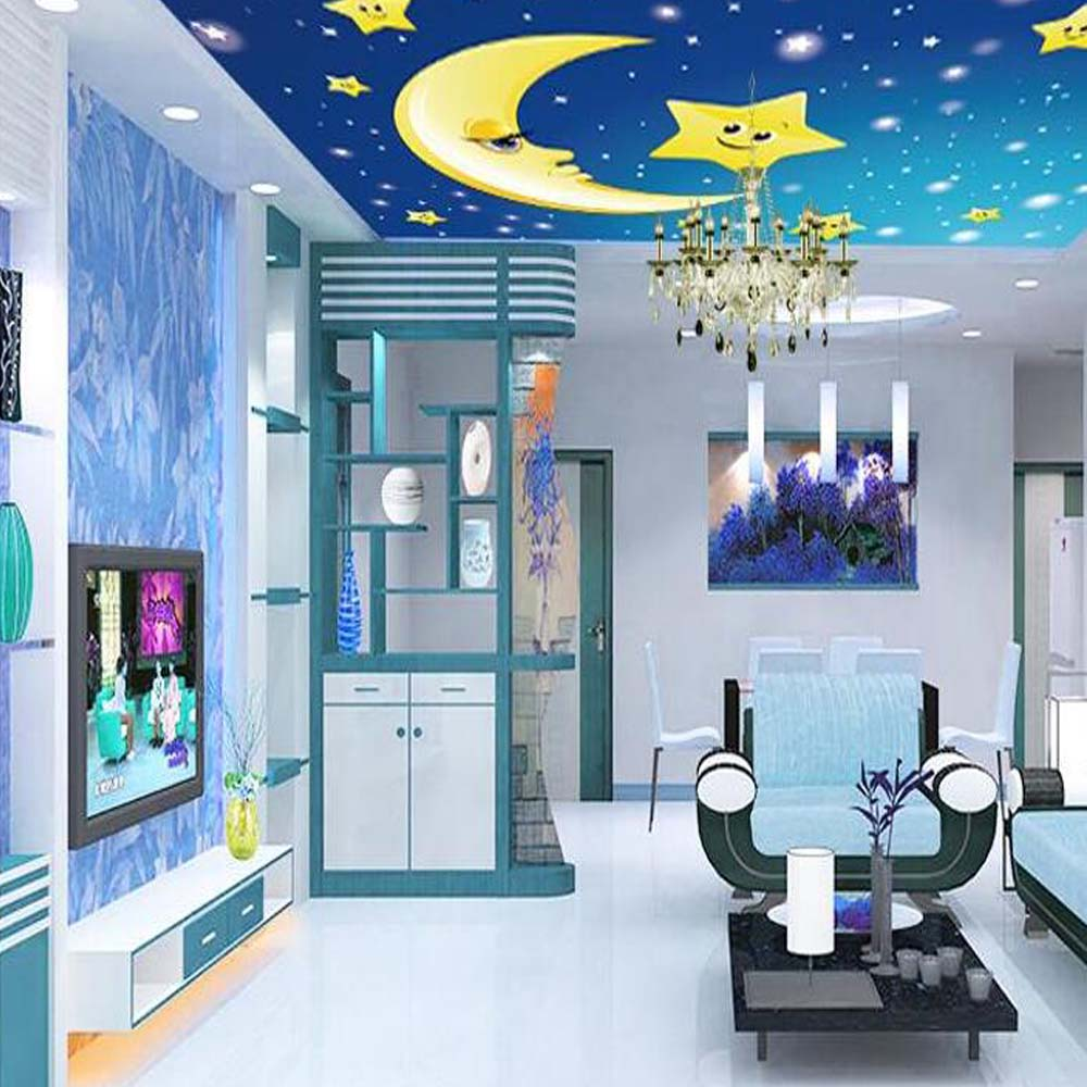 Custom Ceiling Wallpaper Photo Mural Star Moon For Kids
