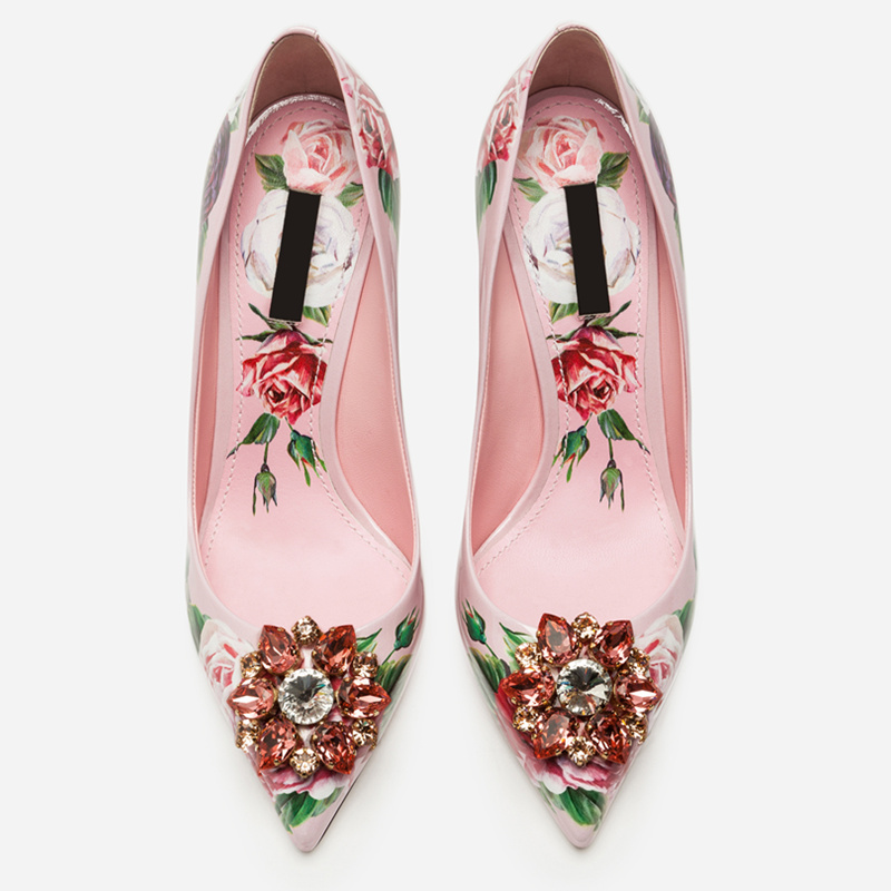 Woman Pumps Sexy Stiletto Heels Pointed Toe Colorful Crystal Embellished Glitter Woman Shoes Flower Fruit Pattern Wedding Shoes цена 2017