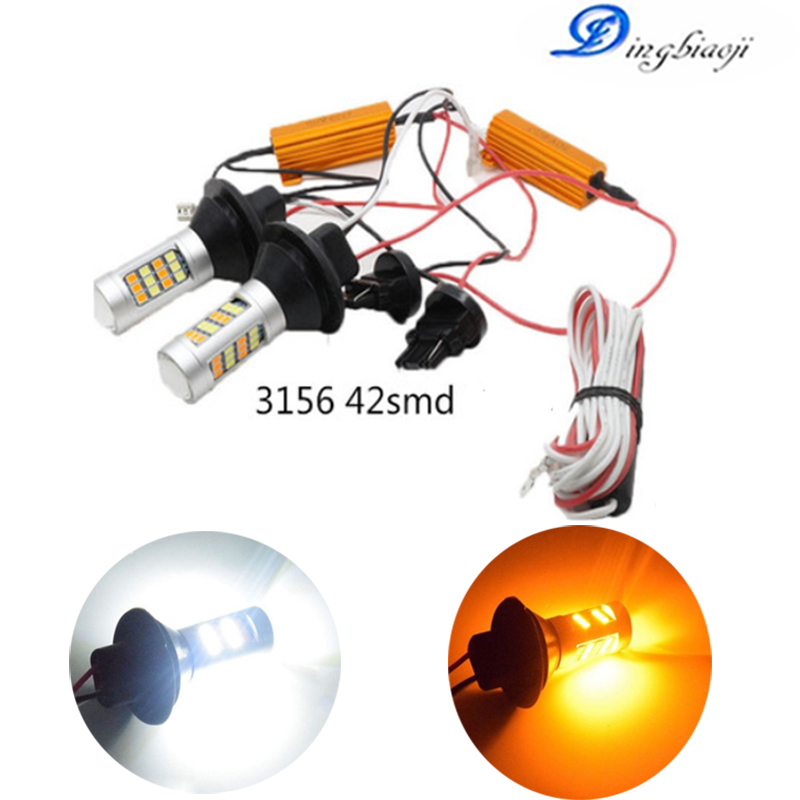 2X T20 7440 20-7440 1156 1157 3156 3157 2835 Dual-Color Switchback LED DRL Canbus Turn Signal Light Kit Error Free White Amber image