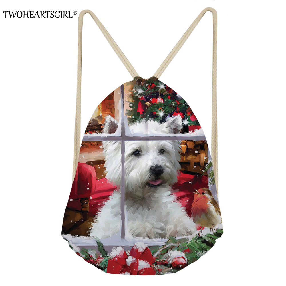 Twoheartsgirl Christmas Westie Print Kids Drawstring Bags Travel Softback Storage Drawstring Pocket Cute Cartoon Large Beach Bag