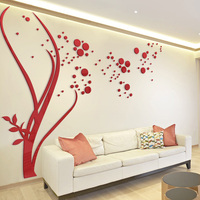 3D Large Size Round Dots Tree Wall Stickers Home Decor Living Room Art Background Acrylic Mirror