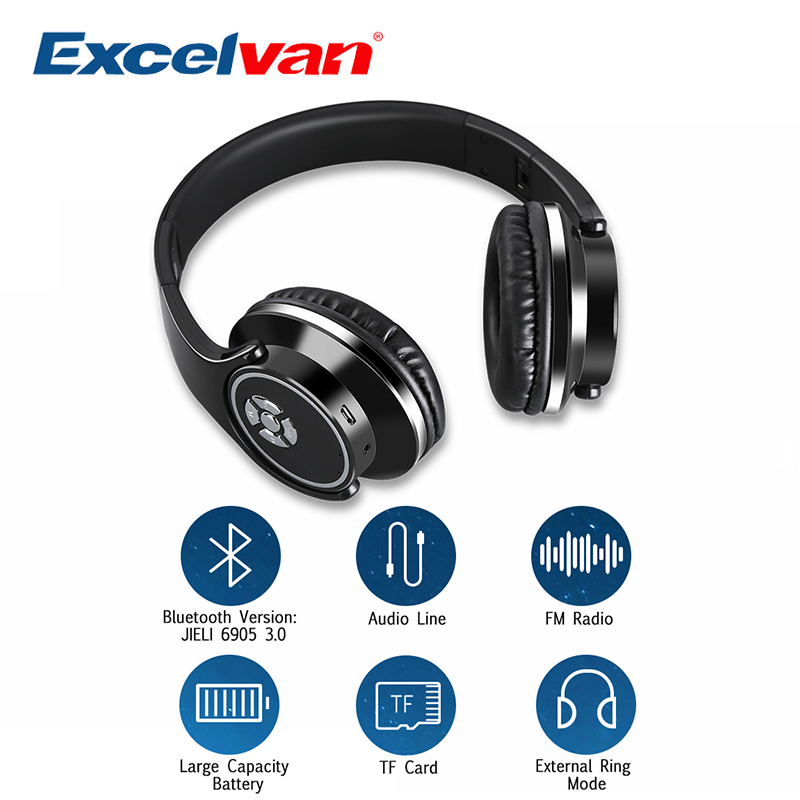 Excelvan BT-9960 Bluetooth Headset Wireless Headphones Stereo Foldable Sport Headphone Microphone Headset Handfree MP3 Player