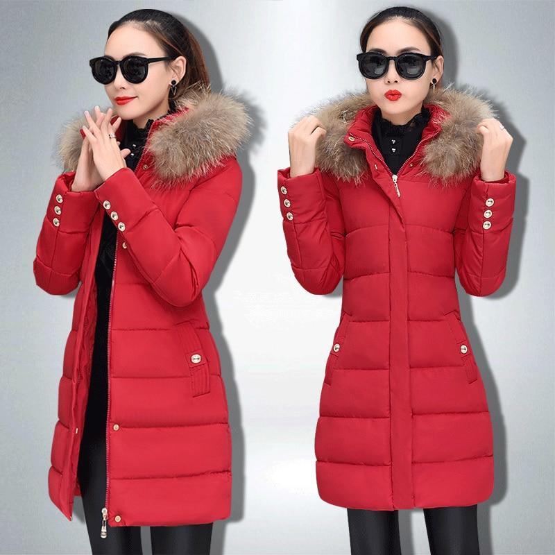 Coton Vestes À A321 Capuchon Col 2018 Mincir Chaud Femme Mode Parkas Black Long Pardessus Manteau De Fourrure Épais D'hiver red Femmes qqw7U6
