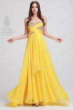 Freies Verschiffen 2016 Gelben Schatz Prom Kleider A-line Chiffon Bodenlangen Formale Abendkleider vestidos de fiesta