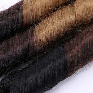Image 5 - T1B/4/27 3 トーンオンブル春毛束 210 グラム 1 セットブラウンゴールデン毛延長合成毛織り