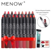 Menow Make up set 19 Color/Pack Kiss proof Waterproof Lipstick Gift 1Pcs Pencil sharpener and 1Pcs Remover gel drop ship 5367