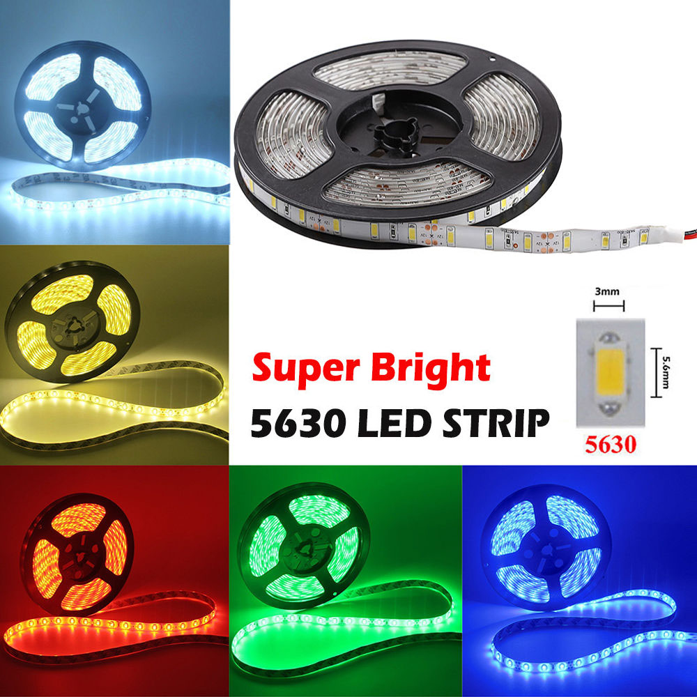 New LED Decorative Light Strip 5630 SMD 300 LEDs 5M 12V Cool White Red Blue Green Waterproof Car Decoration Flexible Lamp Strip led flexible light strip 5630 smd 300 leds 5m white green blue waterproof decorative lamp strip power adapter 110v to 12v 8a