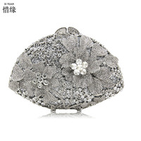 XIYUAN BRAND luxury double diamond floral silver evening bag fashion gold purses blue wallets for cash mobile