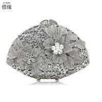 Xiyuan Роскошные брендовые Double Diamond цветочный Серебряные вечерние мешок золота Кошельки цвет синий кошельки для наличных Mobile