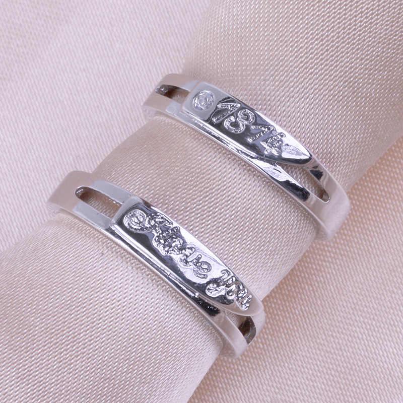כסף 1314 טבעת פתיחת זוג פראי של גברים באיכות גבוהה ליידי יפה תכשיטי קריסטל תכשיטי אופנה