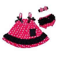 Newborn Girl Dresses Baby Girl Skirt Sleeveless Bowknot Spot Red Blue Yellow Dress Kid Toddler Clothes Summer Outfit Short Pants