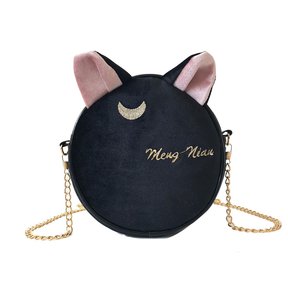 Cute Round Cat Ears Velvet Moon Embroidery Women Crossbody Shoulder Bag Pouch Female Purse and Wallet Handbag 2019Cute Round Cat Ears Velvet Moon Embroidery Women Crossbody Shoulder Bag Pouch Female Purse and Wallet Handbag 2019