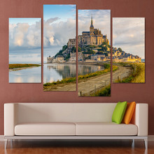 New Modular Pictures 4 Piece Seaside Castle Landscape Canvas Print modular paintings Home Decor Wall Art Picture For Living Room