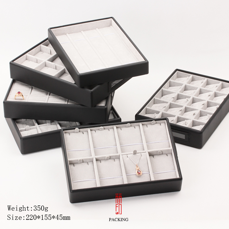 Black Leather Seik Jewelry Display Tray For Exhibition Transport Or  Storage With Gray Velvet Inner Core All Can Be Stacked