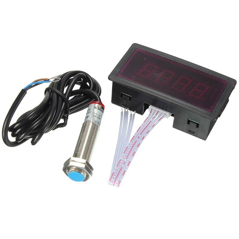 Sensor de interruptor de proximidade salão npn + eletrônico led vermelho tacômetro 4 display digital tacômetro rpm medidor velocidade com ímã