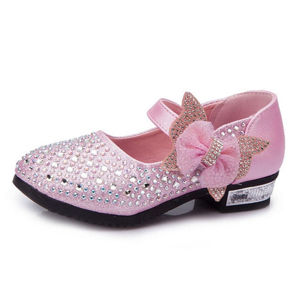 Flower girls high heels princess shoes rhinestones kids for Girls dress shoes for wedding