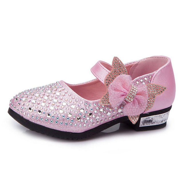 Flower Girls High Heels Princess Shoes Rhinestones Kids Wedding Shoes For Party Bling Kids Girls Crystal Dress Shoes 2017 Spring