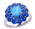 Blue Fire Opal Blue Zircon Silver Plated Ring Wholesale Retail for Women Jewelry Ring Size 5 6 7 8 9 10 OJ4892