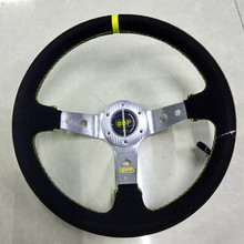 13-inch matte leather Car steering wheel / silver bracket Universal Racing Wheel New 2016