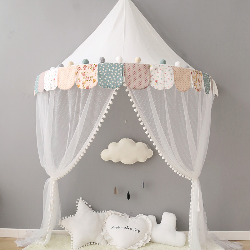 premium selection 0f535 59d0e US $7.32 45% OFF Pink Canopy Princess Bed Kids Play Tent House Toddler Baby  Crib Curtain Mosquito Net for Cot Girls Room Decoration Wall-in Mosquito ...
