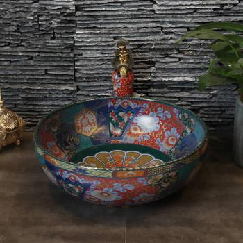 Chiny ceramika dekoracyjna malarstwo Art Lavabo łazienka umywalki okrągłe porcelanowy zlew z blat był umywalka umywalki łazienkowe tanie i dobre opinie JINGYILE ceramic ROUND Blat umywalki Szampon umywalki Glazury natrysku Ociekaczem Jeden otwór as show picture porcelain
