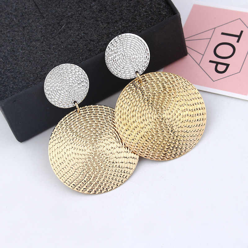 Ufavoirte Baru Fashion Geometris Persegi Bulat Koin Anting-Anting untuk Wanita Fashion Punk Emas India Panjang Drop Anting-Anting Perhiasan Brincos