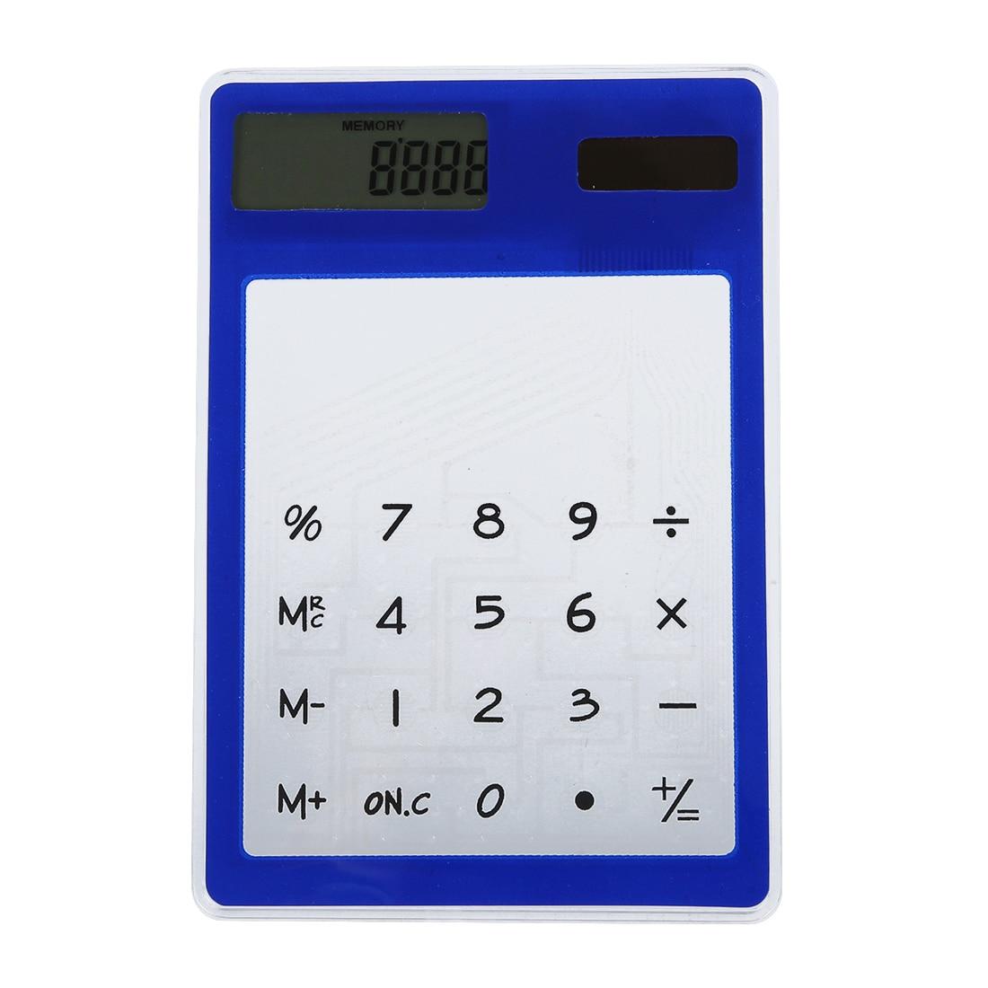 Ультра тонкий Сенсорный экран 8-значный Солнечный Мощность прозрачный калькулятор канцелярских товаров