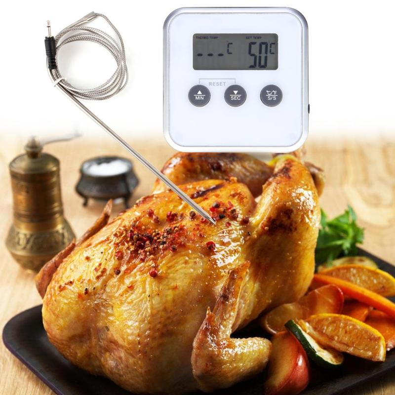Electronic Thermometer Timer Food Meat Temperature Meter Gauge With Probe Digital Oven Wireless LCD Barbecue Timer Probe Tools