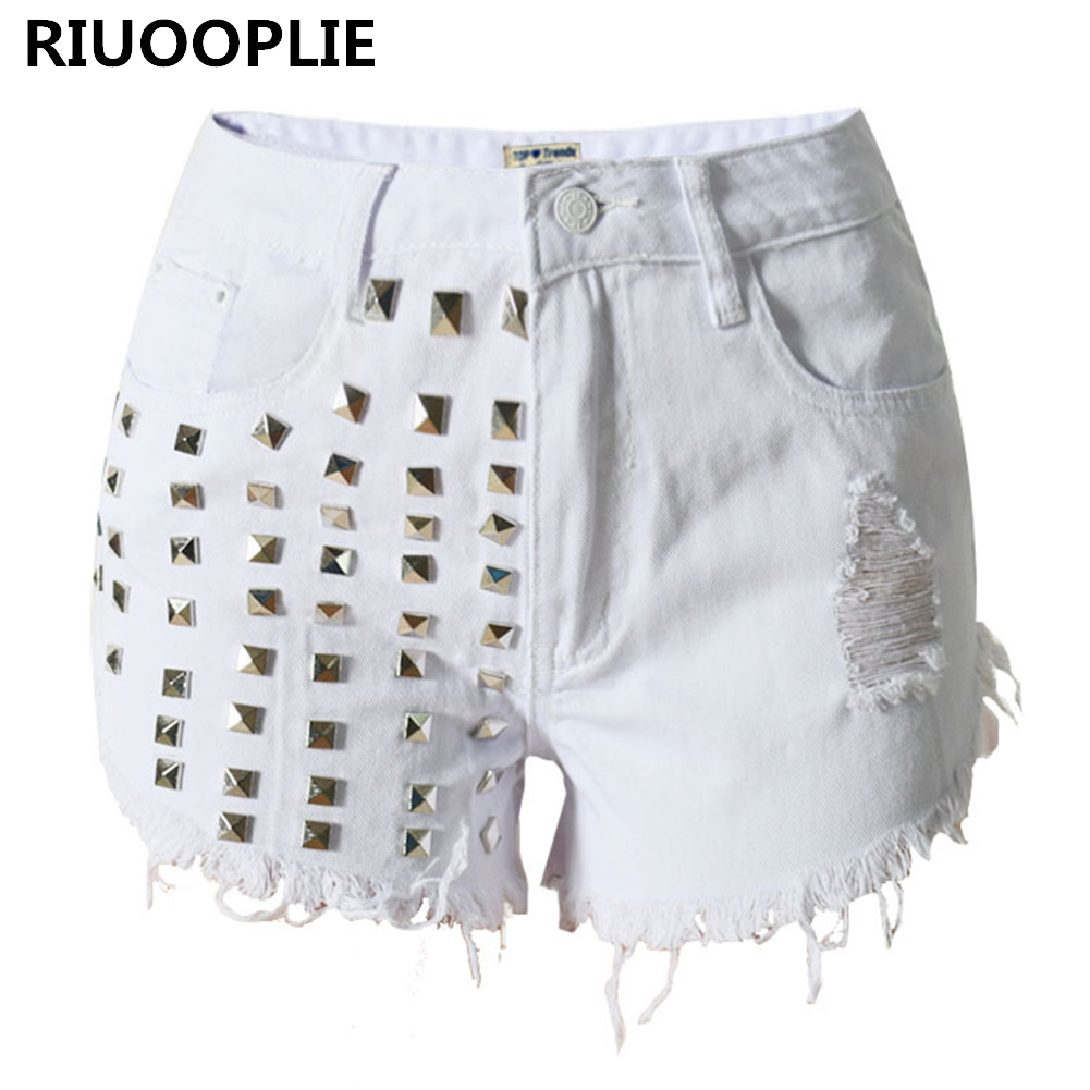 RIUOOPLIE Women's Vintage Tassel Rivet Ripped Loose High Waisted Punk Hot  Denim Shorts