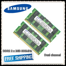 Samsung DDR2 2 x 2GB 4GB Dual channel 800MHz PC2-6400S DDR 2 2G 4G notebook memory Laptop RAM 200PIN SODIMM