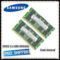Samsung DDR2 2x2 GB 4 GB double canal 800 MHz PC2-6400S DDR 2 2G 4G ordinateur portable mémoire RAM 200PIN SODIMM