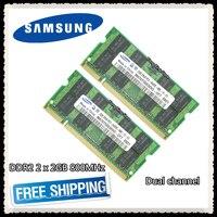 Samsung DDR2 2x2 GB 4 GB двухканальный 800 MHz PC2-6400S DDR 2 2G 4G ноутбук память ноутбук ram 200PIN SODIMM